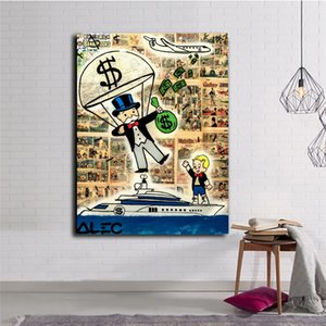 Alec monopolios paracaídas tirar el dinero Richie Calle En El Yate pintada del arte de la lona Pintura impresiones del cartel Imagen del cartel para la sala