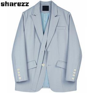 Sharezz Spring Autumn 2020 New Women Blue jacket For Women Bandage Lapel Long Sleeve Loose Fit Jacket Fashion Tide Short Coat