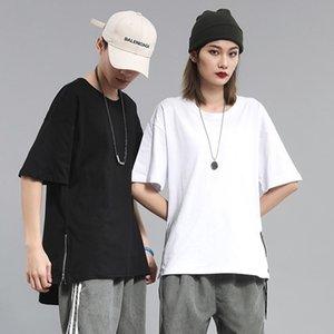 Kadın T-shirt Yaz Fermuar Harajuku Punk Tops Erkekler Kadınlar Gevşek Karikatür Kadın Çift Eğlenceli Boy T Gömlek Kore Giyim Streetwear Tees