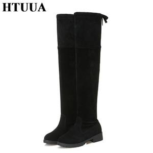 HTUUA Осень Зима Теплый Плюшевые женщин более-сапоги Черный Flock Узелок сексуальных женщин высокие сапоги дамы обувь SX3346