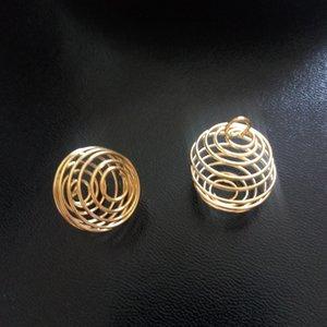 Nuovi Charms 200 pz Alloy Spring Spiral Beads Cage Pendenti Gioielli Fai Da Te Accessori Oro / Argento 14x15mm / 20x25mm all'ingrosso