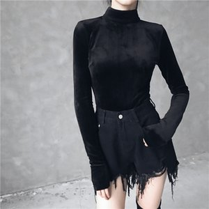 Ruibbit New Autumn Winter Gothic Punk Women Black T-Shirts Top Sexy velvet Bodycon Solid Long Sleeve Party Pullover Shirts T200410