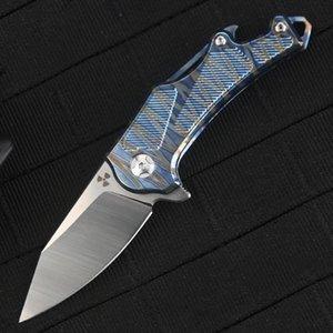 JR9315-blue Beautiful M390 Mini Folding Pocket Knife 62HRC Titanium Alloy Handle with Key Ring Bottle Opener Screwdriver EDC Camping Knife