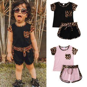 Ins 2020 Summer leopard casual girls suits kids tracksuit girls tracksuit short sleeve T shirt+shorts 2pcs kids designer clothes girls B976