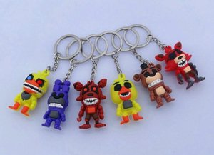 6pcs lot Anime Game FNAF Five Nights at Freddy's keychain Action figures Toys Freddy Foxy Bonnie 3D keychain key Ring FNAF Gift Kids toys