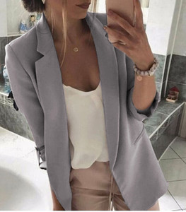 Mujeres Retro Slim Fitness Blazer de manga larga Work Coat Casual Outwear Jacket