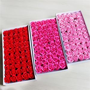 Jabón de la flor artificial de las rosas romántica de San Valentín florece la decoración de Rose de la nave libre 50pcs / maleta-Caja de regalo de 5bags T1I1701