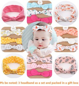 Baby Girl Turban Headband Soft Cotton Headwraps Bow Knot Headbands Stretchy Hair Bands Girls Fashion Accessories 3 Pcs A Set with Gift Box