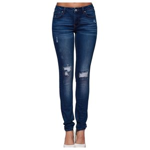 Fashion Women Stretch Mid Waist Jeans New Pure Color Skinny Slim Was Thin Ripped Jeans Distressed Hole Pants Jeans Plus Size#J30