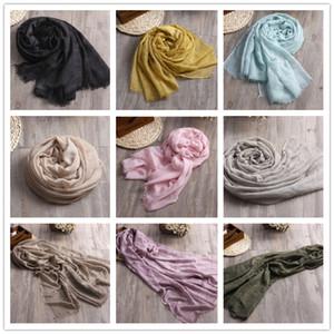 Venta caliente 2018 Nueva Moda Algodón Lino Mezcla Verano Mujeres bufanda 180 * 100 cm Sólido Largo bufanda monocromática de las mujeres