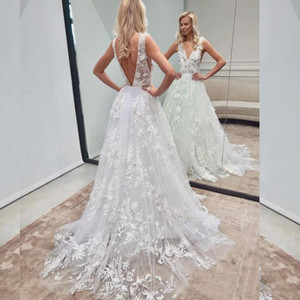 2020 Sexy A Line Wedding Dresses White Lace Appliqued Deep V Neck Backless Beach Wedding Dress Cheap Boho Bridal Gown