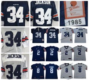Mens Vintage 34 보 잭슨 컬리지 축구 유니폼 캠 2 뉴튼 자렛 8 스티 튼 스티치 축구 셔츠 M-XXXL