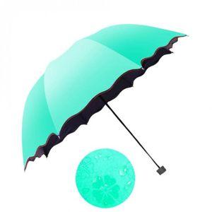 Moda simple de las mujeres paraguas a prueba de viento protector solar magia flor paraguas cúpula a prueba de rayos ultravioleta sol lluvia paraguas plegable 6 colores
