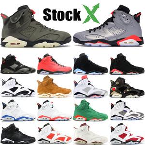 Travis zeytin 6 Erkek Basketbol Ayakkabı 6s gümüş Jumpman Cactus Jack siyah kedi oreo chaussures Tasarımcı Sneakers eğitmenler 40-47 Yansıtan