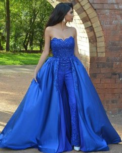 Royal Blue Lace Jumpsuits Prom Dresses Strapless Neck Beaded Overskirt Evening Gowns Vestidos De Fiesta Sweep Train Appliqued Formal Dress