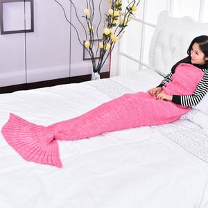 Sirena Tail Sofá Estudio Mantas Mezcla de colores Croche hecho a mano Portátil Cómodo Senderismo Manta de camping Saco de dormir Accessiories 35dr E1