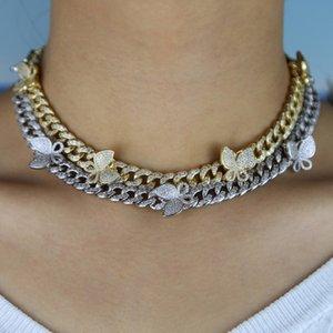 dégelée à bling cz Miami chaîne lien cuban charme papillon collier tour de cou hip-hop bijoux femmes