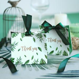 100 teile / los Quadratische grüne blätter Candy Bag Box für Baby Shower Hochzeit Gefälligkeiten Geschenkboxen Party Tischdekoration Event Party Supplies