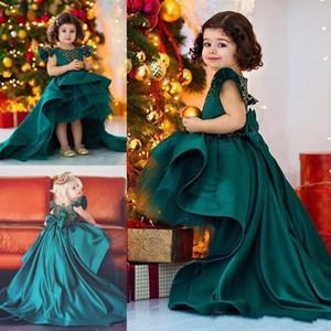 Dark Hunter Green Высокие Низкие Платья для Девочек-Цветочниц Для Свадьбы Атласные И Органзы Девушки Pageant Платья Большой Лук Развертки Поезд День Рождения Одежда