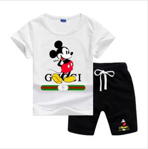 Bebek erkek ve kız tasarımcı T-shirt ve şort takım elbise marka eşofman 2 Çocuk Giyim seti sıcak satmak moda yaz çocuk T62468