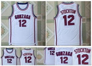 12 John Stockton Forması Gonzaga Bulldogs Forması Koleji Basketbol Formaları Beyaz 100% Dikişli Spor Gömlek En Kaliteli!