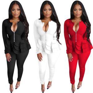 Pantalones de las mujeres sólidas fragüe la capa de moda Volantes gradas de la cremallera de manga larga + pantalones flacos atractivos trajes de dos piezas del partido más nuevos