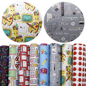 20*34cm 8Pcs Back to School Theme Printed Faux Leather Sheets For Making Handmade Earrings Home Events,1Yc5854