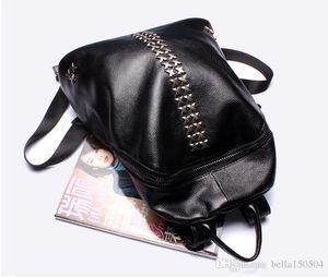 BEST quality Backpacks Genuine leather rivet Shoulder School Bags For Teenagers Girls Laptop Backpack Waterproof Travel Bagpack Lady's