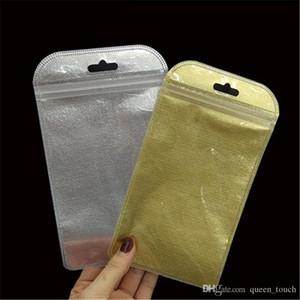 No tejido de plástico resellable paquete al por menor Bolsa de esmerilado de plata de oro de la cremallera Empaquetado opp caja de embalaje para auriculares cable USB