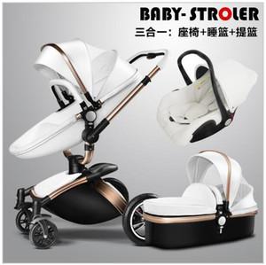 Baby poussette cuir chariot de la mode européenne Prame pour couchée et siège
