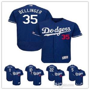 LosAngeles Dodgers 35 Cody Bellinger 5 Corey Seager Majestic Flexbase Authentic topo Colecção Jogador Jersey