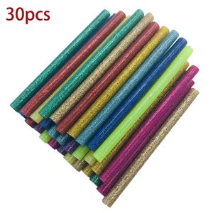 30 Unids / set Palitos de pegamento de fusión en color de 7mm Adhesivo Surtido Glitter Glue Sticks Profesional Para Pistola de pegamento eléctrica Reparación de artesanía