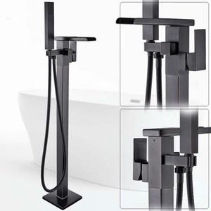 Напольные Водопад Носик ванна смеситель кран Черный Bronze комната Ванна Душ Набор с Handshower Корпусная Ванна Tap