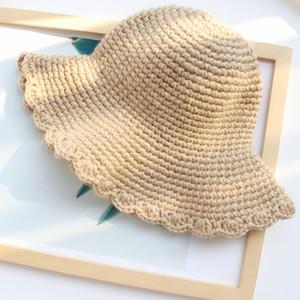 Seasonal handmade knitted female solid color bucket bucket Wool fisherman woolen basin hat wooden ear lace fisherman hat