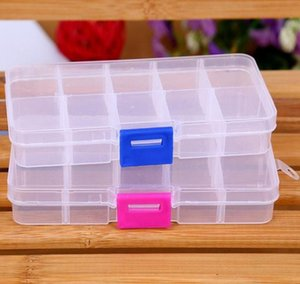 Adjustable 10 Compartment Plastic Clear Storage Box for Jewelry Earring Tool Container Fast Shipping