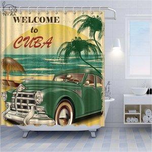 Retro Poster Poliban européenne et américaine Cabriolet Salle de bain Rideau de douche Montgolfières plage Maison de vacances Décoration intérieure Bain Rideau