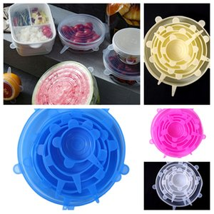 Silicone Food Wraps 6pcs set Reusable Food Fresh Save Cover Stretched Durable Bowl Plate lid Kitchen Storage T2I51050