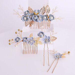 Cabelo FORSEVEN Handmade Flower Blue Pearl cristal cabelo Comb Pin Varas Mulheres menina Headpiece Acessórios de casamento Jóias