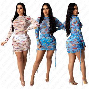 Sommer-Frauen-Strand-Kleider Langarm kurze Röcke Art und Weise reizvolle transparente Mesh-Bügel-Entwurfs-Kleid Bodycon Kleider Kleidung D41001