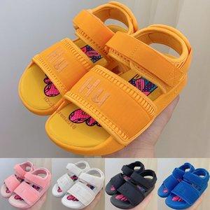 Pharrell Williams Adilette 2.0 Kids Sandals Hyper Pop 2020 Designer Babys Shoes HU Candy Yellow Black Toddler Children Slippers Size 26-35