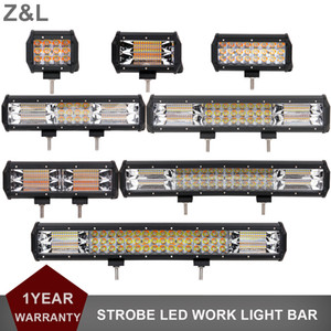 ZL 스트로브 플래시 LED WORK LIGHT BAR 자동차 4X4 4WD 트럭 SUV의 픽업 AMBER WHITE DUAL COLOR INDICATOR DRIVING FOG 경고 헤드 라이트