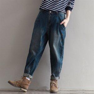 Johnature Casual Loose Women Jeans 2019 Automne Nouveau tirettes Bouton Taille Mode plus Femmes cothes coréenne Pantalon pleine longueur