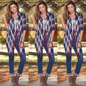 Открытый Кардиган Женские Повседневный Осень Классический Plaid Tops Casual Блузка с длинным рукавом Верхняя одежда Трикотаж для женщин