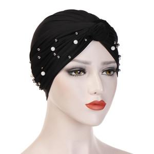 Müslüman kadın Pamuk Türban Şapka Boncuk Inci Düğümlü Kemo Kemikler Kanseri Hastalar için Wrap Kaplama Kapak Şapkalar Saç Aksesua ...