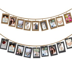 10pcs Set Combination Paper Frame with Clips and 2.2M Rope 6 Inch Wall Photo Frame DIY Hanging Picture Album Home Decoration
