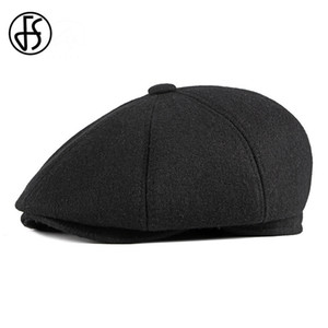 FS Autumn Winter Trend Middle-aged Elderly Thicken Keep Warm Earmuffs Berets Casual octagonal Cap Simple Tongue Cap Dad's Hat