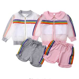 Summer Girls 3 Piece Clothing Sets The Rainbow Color Stripes Mesh Jacket+Crop Tank Vest+Shorts Tracksuits Kids Child Summer Clothes E22504