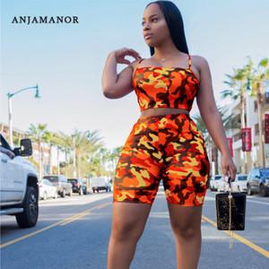 ANJAMANOR Camouflage Imprimer Deux Set Piece Casual Crop Top et pantalon d'été court Survêtement Femmes sexy moulante Romper D74-AA21 T200518