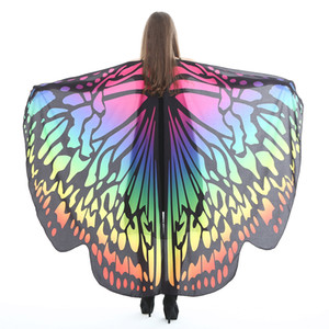 Femmes Butterfly Wings Halloween Costume Cape Écharpe Châle Cape Wrap Foulards 2019 robes de fée papillon cosplay