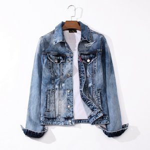 2020 European American famous brand male denim jacket hot seller denim shirt straight patchwork denim jacket L0206